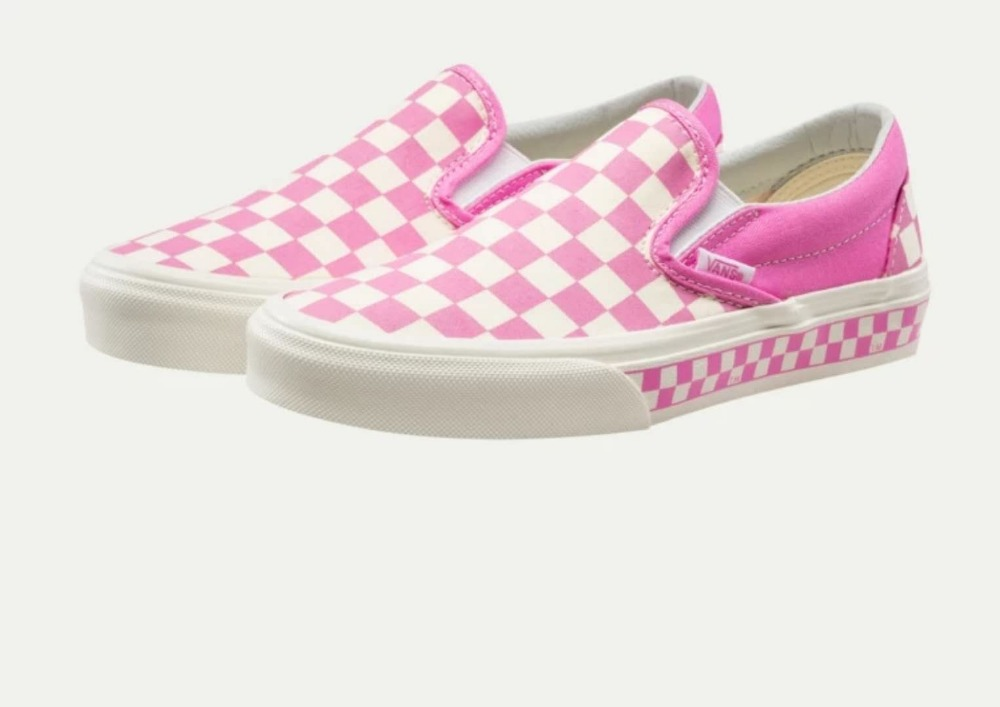 vans slip on checkerboard pink