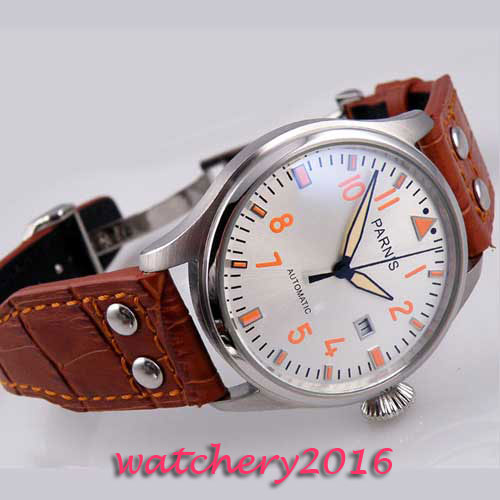 47mm parnis white dial Sea Gull 2551 movement Orange Mark Deployment Buckle SS Case date adjust automatic Mechanical men's watch женские часы la mer collections simple black wash lmwtw1035x