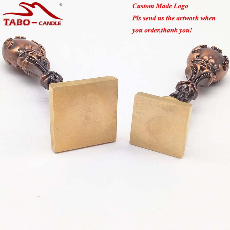 Square Sealing Wax Stamp Based on Custom Made Photo & Logo with Red Copper Metal Handle for Document Wedding Invitation
