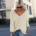 Fashion Pullovers Sweater Women Autumn Winter Deep V Neck Long Sleeve Woman Sweater 2016 Elegant Loose Sexy Pull Femme