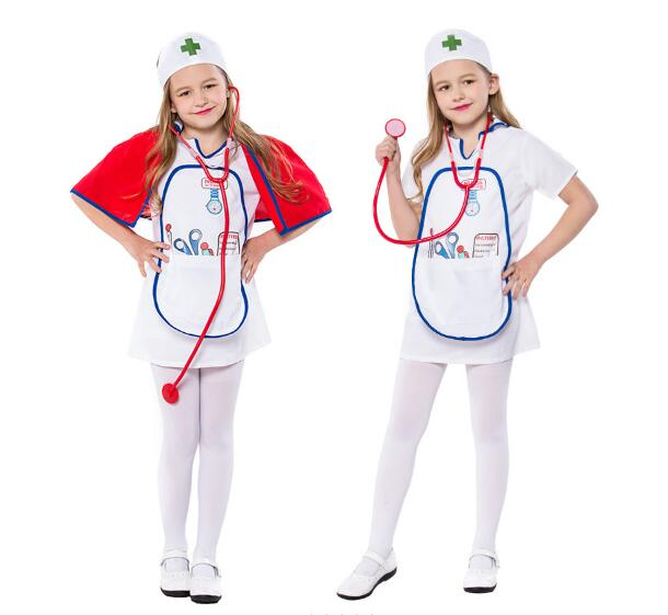 Girls Dress Kids Nurse Costume Headpiece Apron Outfit Hospital Doctor Occupation Halloween Cosplay Dress up Costume