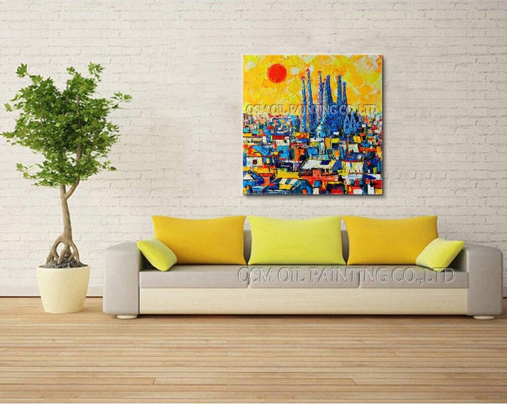 Artista del Design e dipinte A mano di Alta Qualità Astratta Barcellona Pittura A Olio su Tela Bella Spagna Pittura a Olio di Paesaggio-in Pittura e calligrafia da Casa e giardino su  Gruppo 2