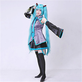 8PCS Hatsune miku costume Cosplay Hatsune Cosplay Costume Set Japanese Midi Dress Beginner Future Miku Cosplay Halloween women