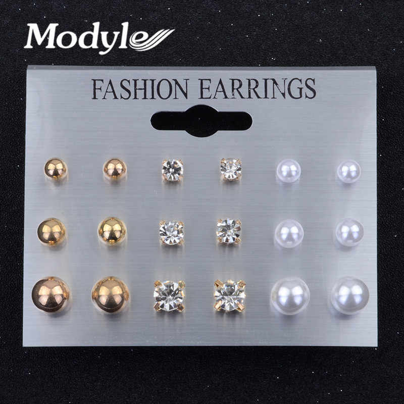 Modyle Fashion 9 pair/set Women Crystal Heart Stud Earrings for Women Piercing Simulated Pearl Flower Earrings