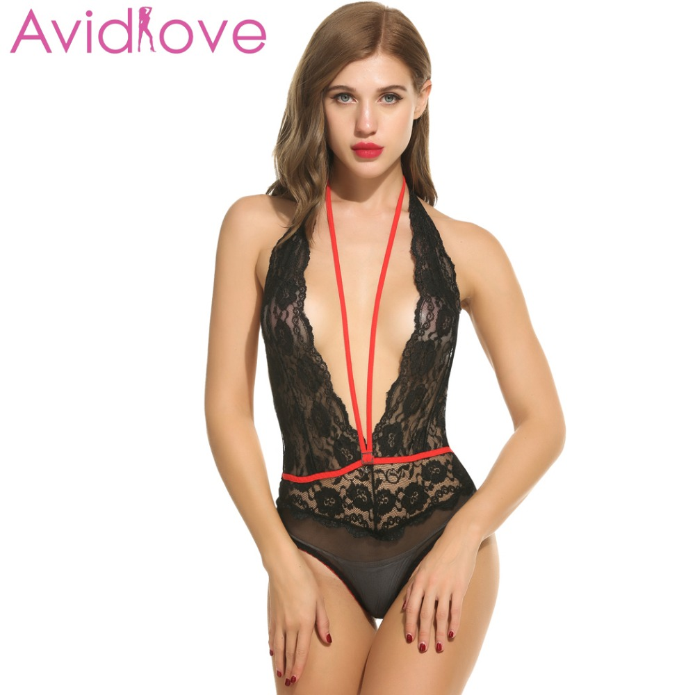 BodyStocking Bodysuit Women Lingerie Nightwear Sleepwear Lace Halter Babydoll US