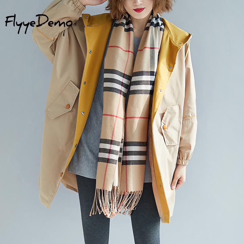 New Autumn Winter Loose   Trench   Women Long Sleeve Casual Coat Pocket Hooded Batwing Single Breasted Woman Wear   Trench   Plus Size