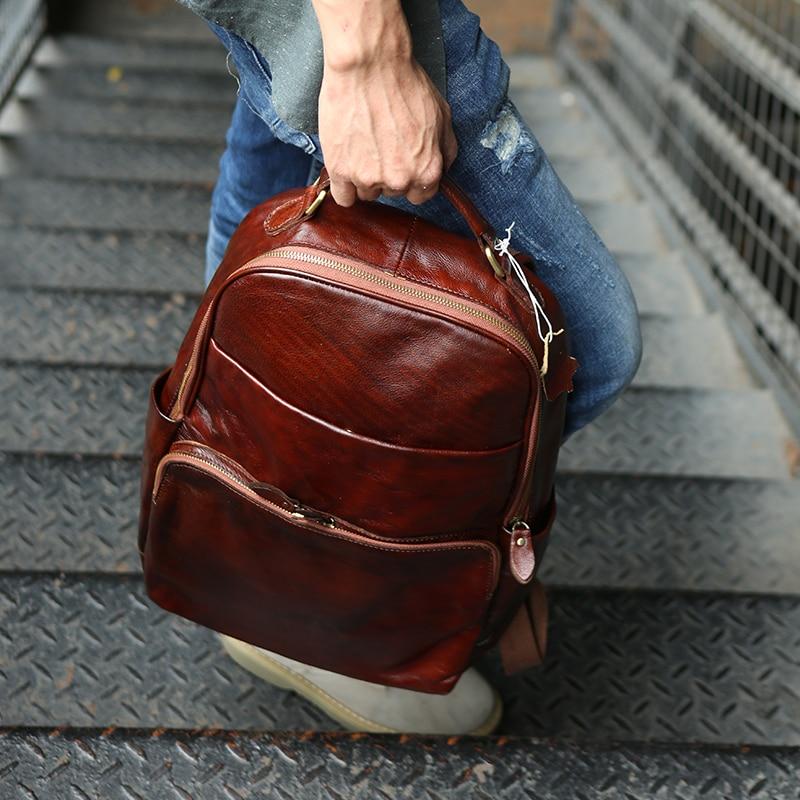 1 2 Original Retro Tasche Männer Bjyl Laptop Männlichen Schulter Rucksäcke Computer Handgemachte Weiche Echtes Top Rucksack Leder Schicht Rindsleder xqBBwTvU