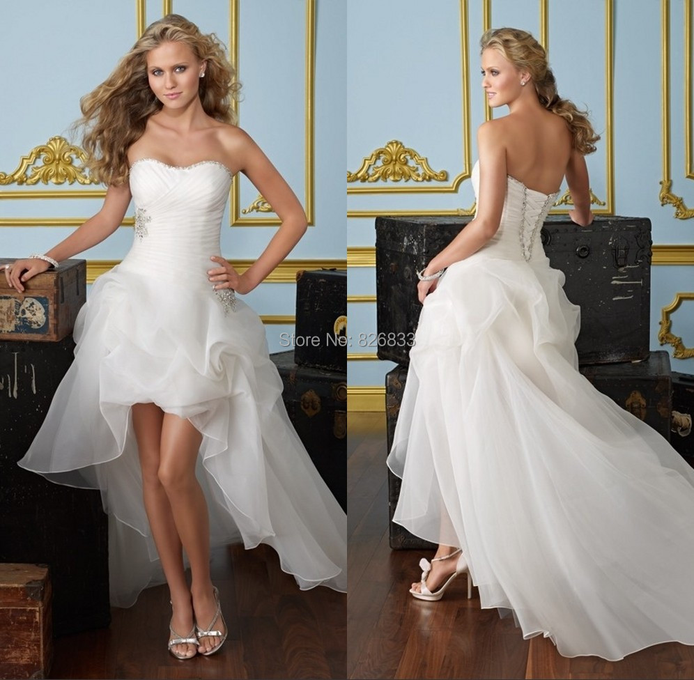 Western Style Wedding Gowns: Pleated Sweetheart Organza Layered High Low Wedding Dress