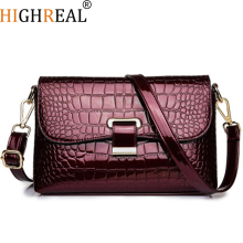 HIGHREAL New Fashion Female Square Bag New Quality PU Leather Women Bag Crocodile Pattern Tote Bag Lock Shoulder Messenger Bags