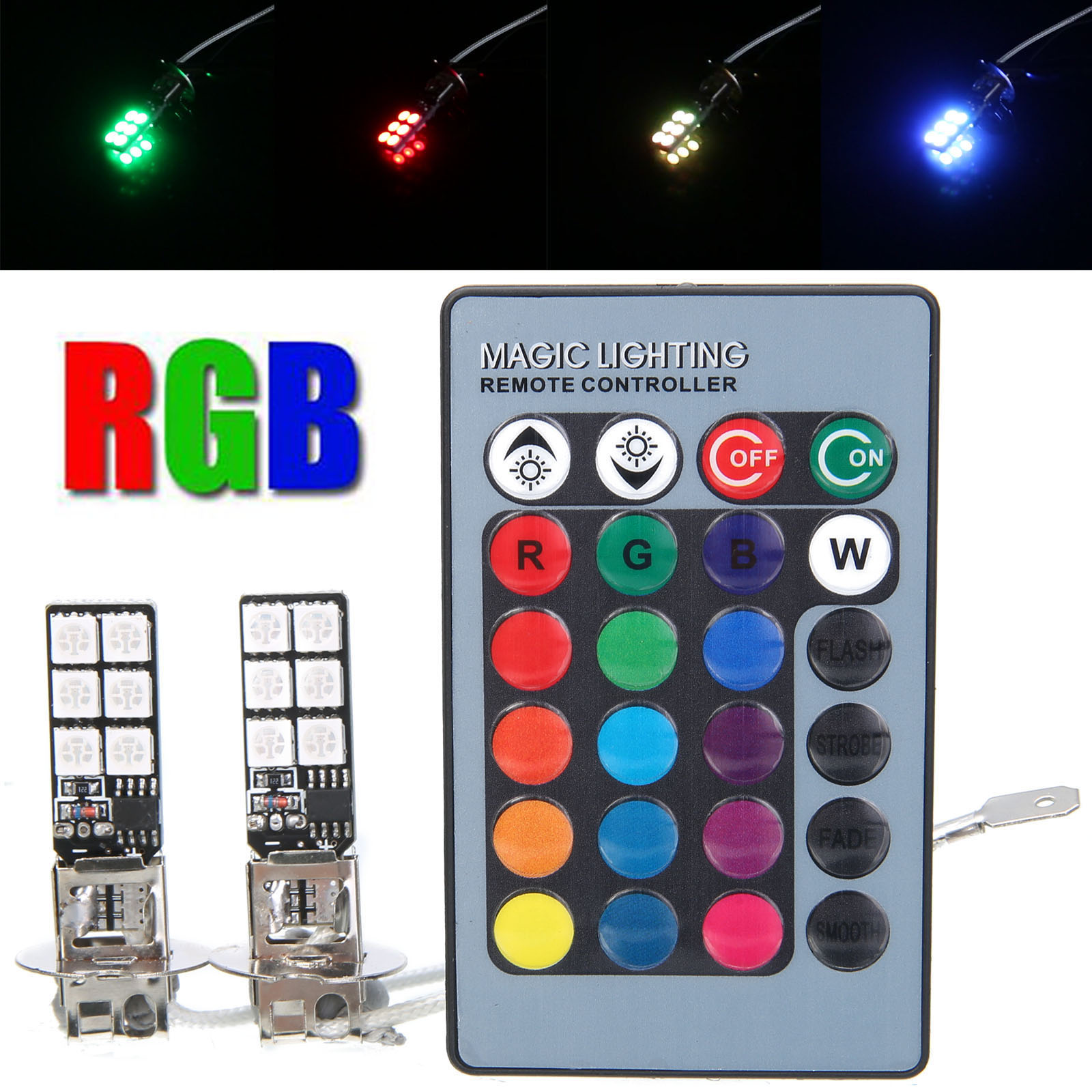 Mayitr 2pcs RGB H3 5050 12 SMD LED Car Fog Driving DRL Light Tail Lamp Colorful Lights with Wireless Remote Control forex b016 h 5050