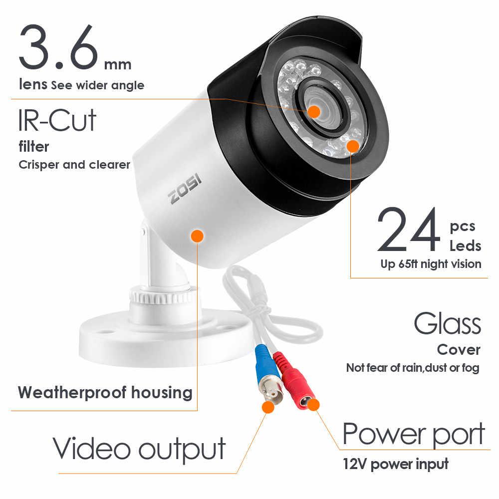 ZOSI HD 2MP видео система наблюдения CCTV 8CH Full HD 1080P HD TVI AHD DVR комплект 1080P наружная цилиндрическая камера видеонаблюдения HDD диск