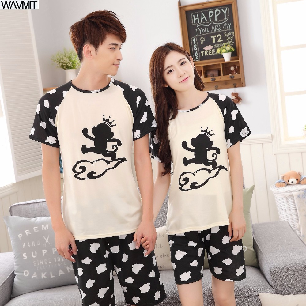 Low Price New 2018 Lovers   Pajamas   Women Long-sleeved Summer Thin   Pajama     Sets   Men Pure Couple   Pajamas   For Men   Set   Sleepwear Suit