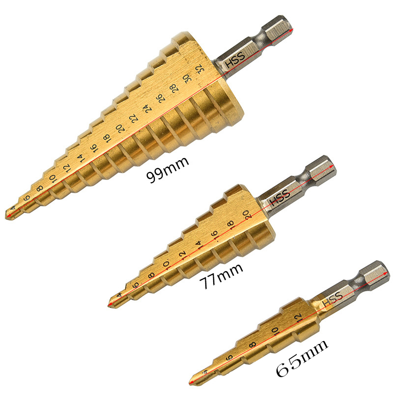 1pcs HSS Titanium Coated Step Drill Bit for Metal 4-12mm 4-20mm 4-32mm For Metalworking Wood Drilling High Quality jelbo 3pcs hss titanium coated step drill bit set 3 12mm 4 12mm 4 20mm step drill wood drilling power tools metal hole opener