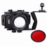 Meikon 40m 130ft Waterproof Underwater Diving Camera Case For Sony A5000 16 50mm + Aluminium Diving handle + 67mm Red Filter