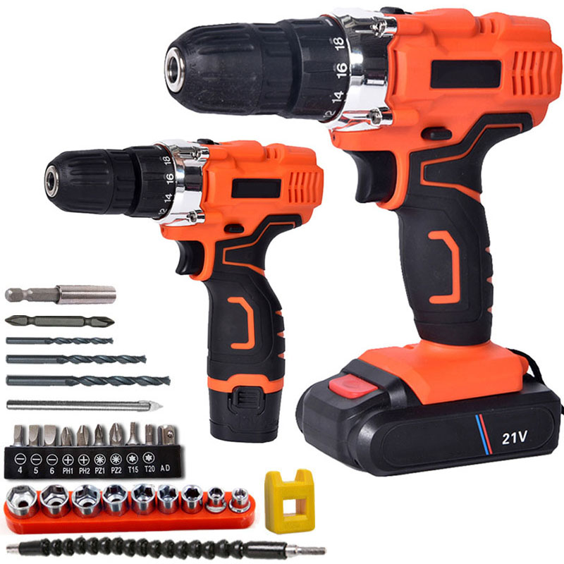 12V/21V Electric Drill Two Speed Lithium Battery Rechargeable Cordless Drill Multi function Electric Cordless Screwdriver
