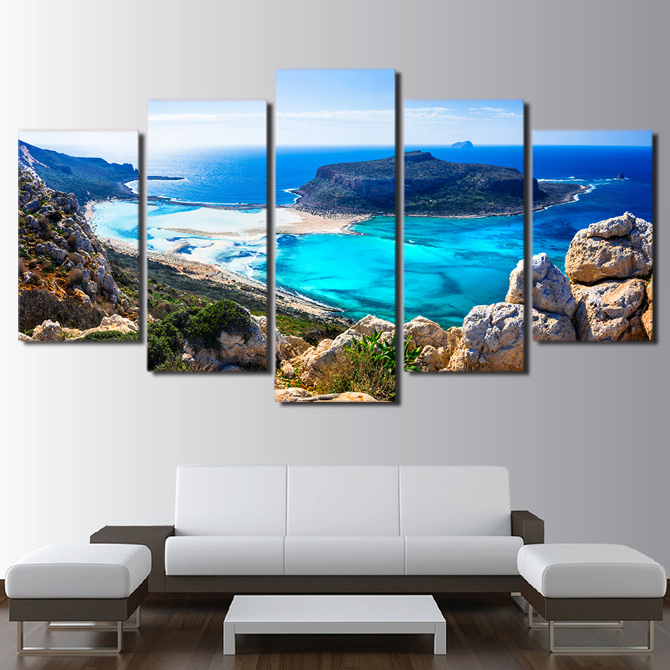 Парусиновые картины для гостиной, модульные HD принты, фотографии, 5 шт., синее море, пляж, остров, морской пейзаж, постеры, домашний настенный художественный Декор|canvas painting|painting for living room|5 pieces - AliExpress