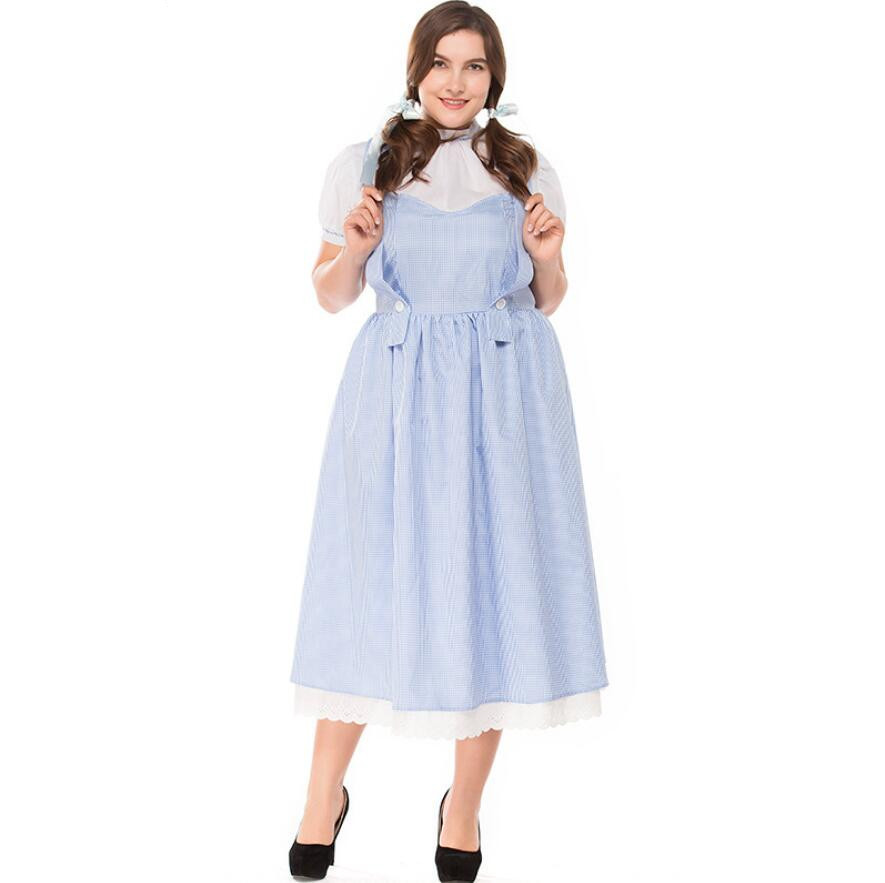 S-XXXL 2018 New Oktoberfest Beer Maid Wench Dirndl Costume Adult Women Halloween Carnival Cosplay Fancy Dress