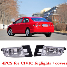 CAPQX 4PCS Front Bumper Lamp Fog Light & Foglight Cover 33950-TX3-H01 For CIVIC FD2 FD1 2006-2011 CIIMO 2012-2015