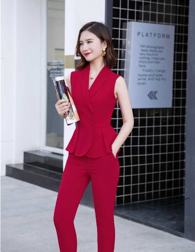 Novelty Red Formal Business Suits With Jackets And Pants 2019 Summer Women Ladies Office Pantsuits Female Blazers Pants Suits