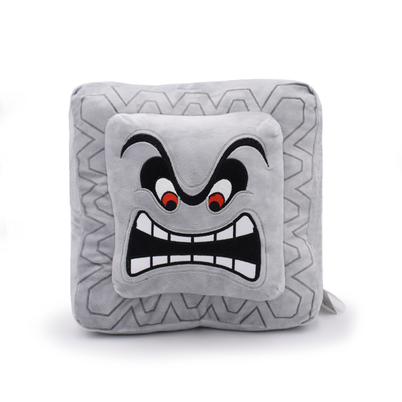 9''22cm Cushion Pillow Thwomp Dossun Super Mario Plush Doll For Children Gift Free Shipping