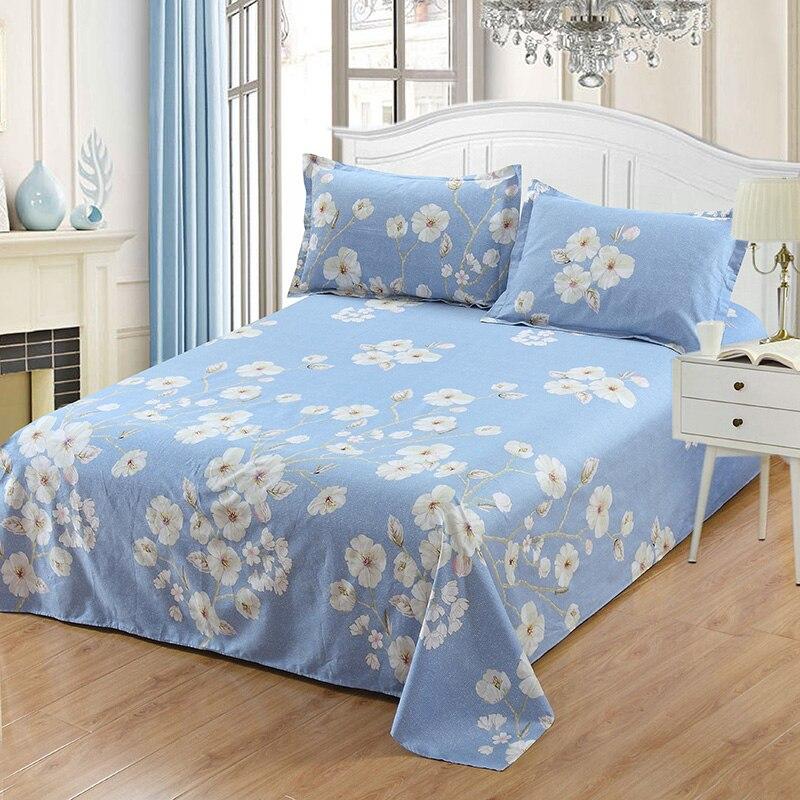 100% хлопок кровать плоский Простыня из Белый Синий с цветочным принтом twin Полный Королева Король Размер постельного белья наволочка малыш д... ...