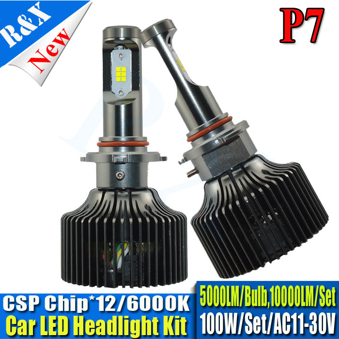 Pair 10000lm Car LED Headlights HB3/9005 Auto Front Bulb 100W Automobiles Headlamp Xenon White 6000K With P7 CSP chip