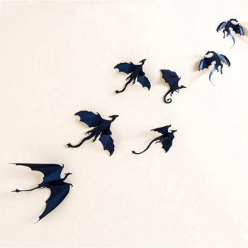 7pcs/Lot Hot sale Gothic Dragons Wall Sticker Game of Thrones Inspired 3D Dragon Decor pegatinas de pared