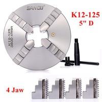 Sanou K12 125 125mm 4 mandíbula auto centralização torno mandril com chave para a máquina de trituração de perfuração|Mandril| |  -