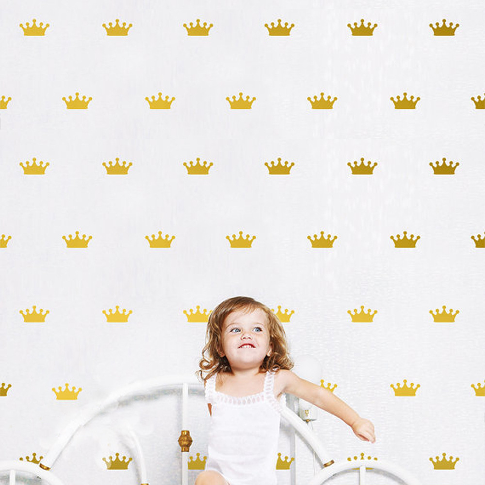 24pcs/set Nordic Style Cute Crown Shape Wall Sticker For Kids Room Art Mural Girls Gifts Decor Princess Queen Vinyl Wall Decals(China)