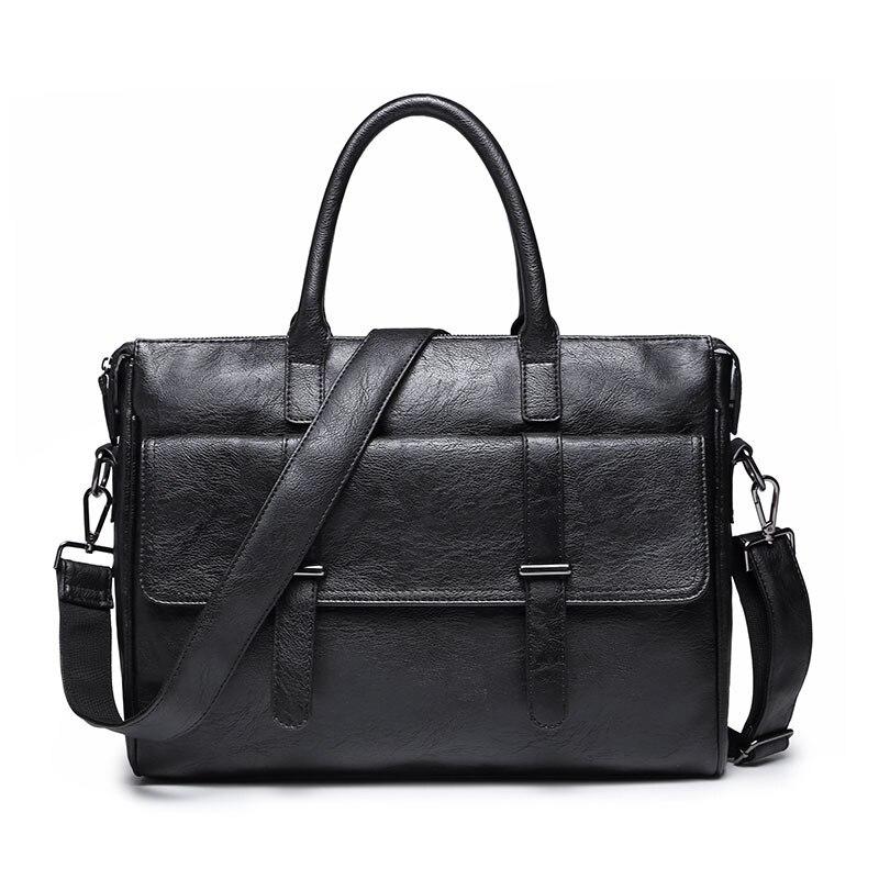 CBJSHO Brand Black Zipper Laptop Bag Briefcase Business Casual Pu Leather Messenger Bags For Men Shoulder Bag Bolso Hombre