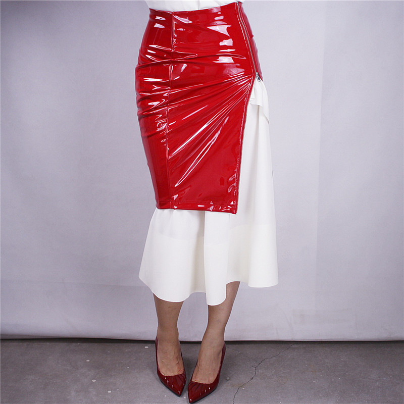 Red Patent Leather Long Zipper PU Imitation Leather Skirts Side Split Half length Pencil Half Skirt High Waist Elastic VG03 in Skirts from Women 39 s Clothing