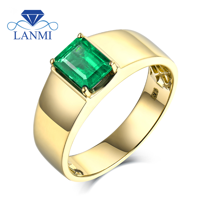 "Simple Design Natural Colombia Emerald Men""s Ring without Diamond for Husband Fine Jewelry Wedding Gift"
