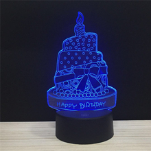 LED 3D Happy Birthday Cake Candles Gifts Lamps Table Light Acrylic Night Lamp with 7Colors Change Remote Touch Switch kids light dhl free shipping creative 7 colors 3d acrylic visual light led lamp birthday party table decoration lamps night light gifts