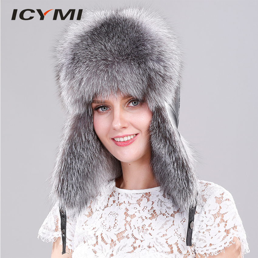 f62e6ee655c53f ICYMI Genuine Silver Fox Fur Hat with Ear Flaps Real Fur Caps for Russian  Women Bomber Hats Trapper Cap with Genuine Leather Top