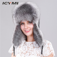 ICYMI Genuine Silver Fox Fur Hat with Ear Flaps Real Fur Caps for Russian Women Bomber Hats Trapper Cap with Genuine Leather Top