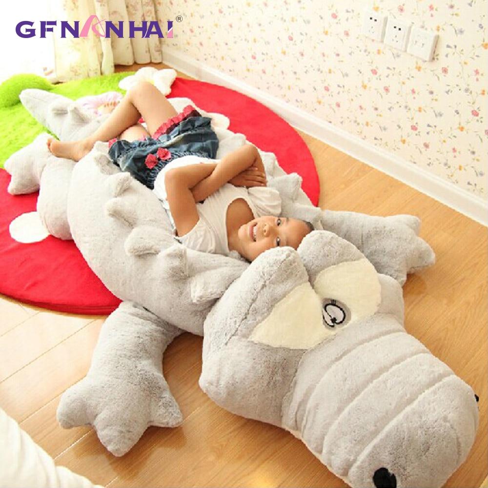 Big Size Crocodile Lying Section Plush Pillow Mat Plush Crocodile Soft Stuffed Animal Toy Cartoon Plush Dolls Kids Girl Gift