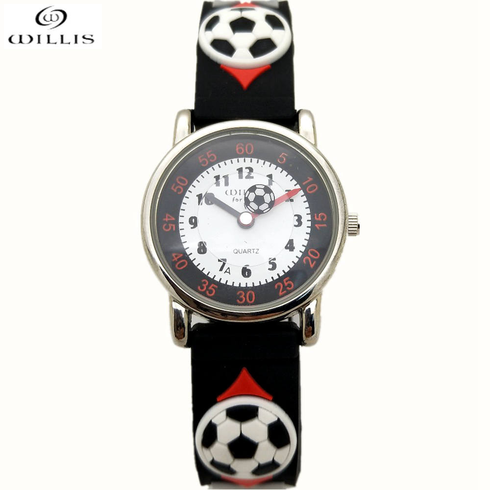 WILLIS Brand New Fashion 3D football Children Watches Kids Quartz Sport Watch Boys Wristwatch Relojes quartz Child clock Relogio kelme 2016 new children sport running shoes football boots synthetic leather broken nail kids skid wearable shoes breathable 49