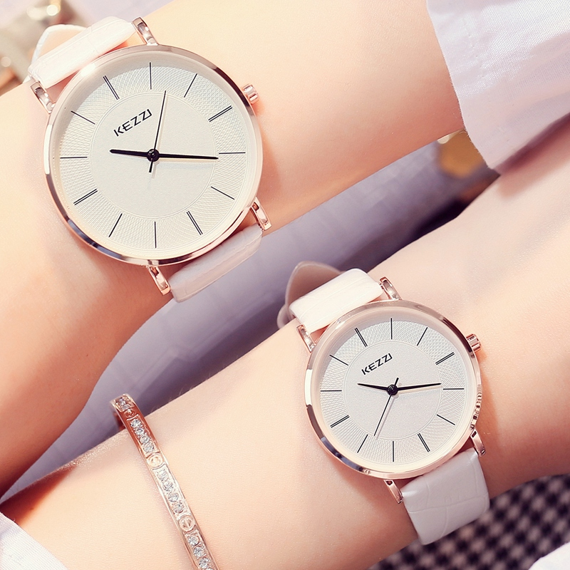 brand Ultra Thin Ladies Watch Classes Simple White Men Women Leather Watches Fashion Casual Waterproof Lovers Quartz Watches  skmei lovers quartz watches luxury men women fashion casual watch 30m waterproof simple ultra thin design wristwatches 1181