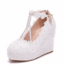 цены New Wedges Platform High Heel Bride Rhinestone Wedding Shoes Bridesmaid White Diamond Women's Pumps Shoes XY-A0311