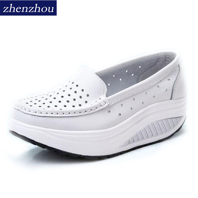 ZHENZHOU Pumps Woman Shoe Summer genuine leather cutout breathable swing shoes white nurse shoes wedges heighten mother shoes