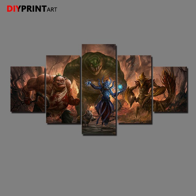 DOTA 2 Leviathan 5 Panels Game Characters Canvas Art Wall Pictures for Living Room A1034 4