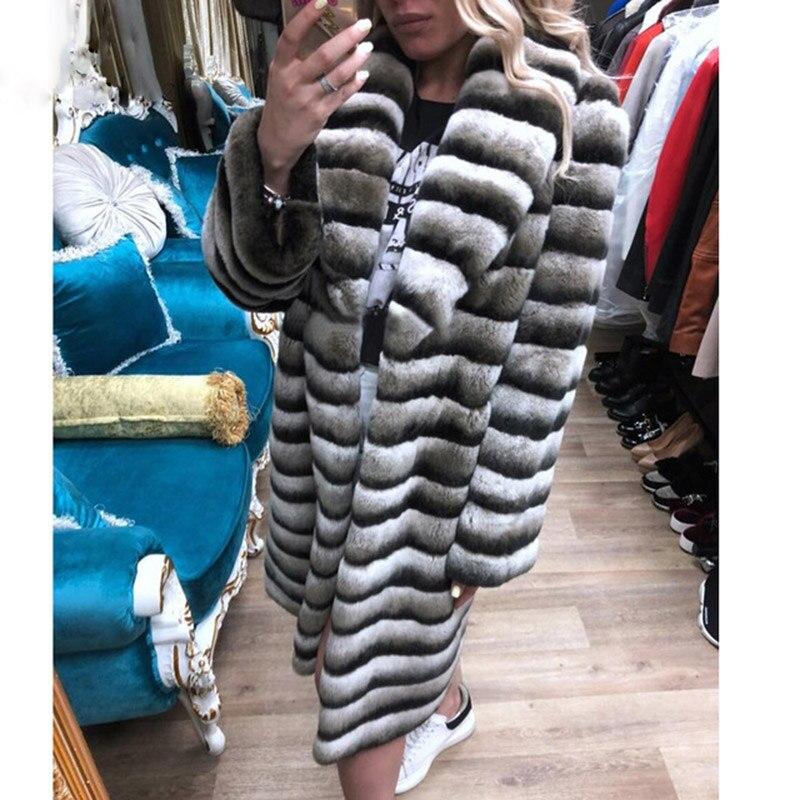 Naturelle Chaud 100 Luxe Épais Femmes Cm Hiver Mode Veste Outwear Topfur Pour Lapin Rex Fourrure Longue Manteau De 2018 wIzxFAqdC