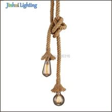 Creative DIY personality pendant lights vintage restaurant lamp bedroom dining room pendant lamps hemp rope light E27