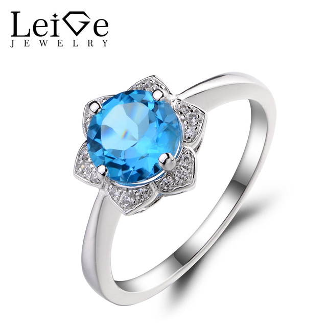 leige jewelry swiss blue topaz engagement wedding rings 925 sterling silver ring round cut gemstone november - Blue Topaz Wedding Rings