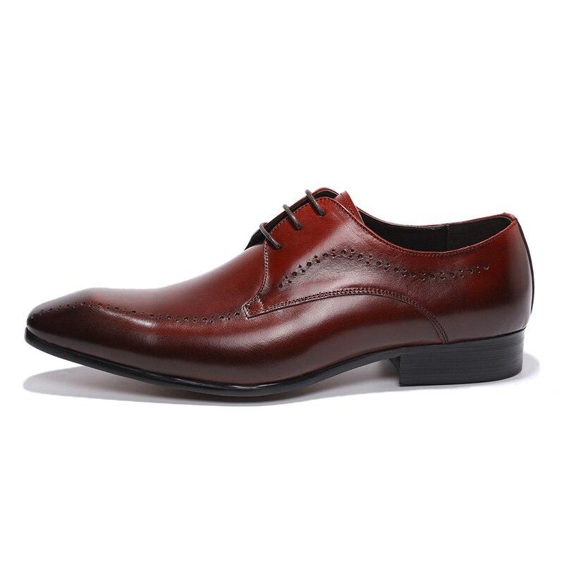 Derby de luxe en cuir véritable chaussures hommes bout pointu à lacets chaussures habillées élégantes chaussures Oxfords confortables taille 39 46-in Chaussures d'affaires from Chaussures    3