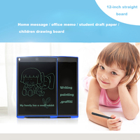 12 Digital LCD Writer Paperless Notepad Writing Tablet Drawing Graphics Black White Red Blue ABS