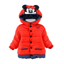 Winter Children Girl Minnie Hooded Cotton Coat Mickey Minnie Jacket Kids Girls Plus velvet Jacket Kids Girl Cloack Child Topcoat(China)