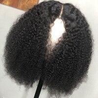 Монгольская причудливая завивка человеческие волосы парик с предварительно выщипанные волосы для Для женщин Remy 13*4 вьющиеся Синтетические