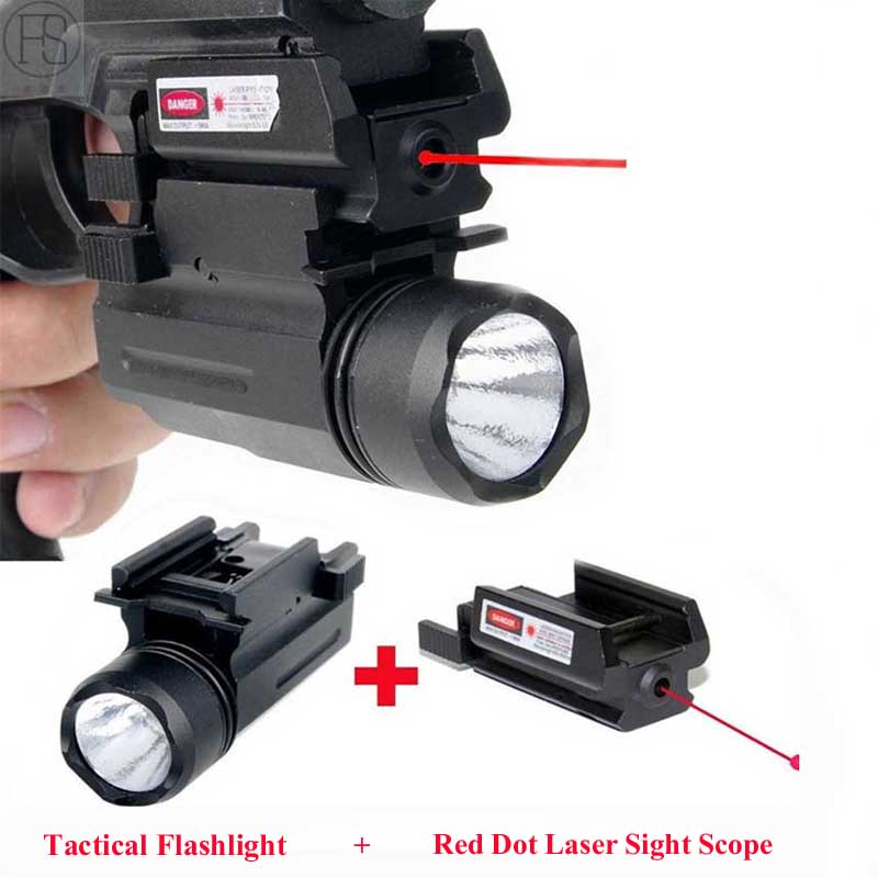 New 2in1 Tactical Hunting Accessories Red Laser Sight & LED Flashlight Combo Laser For Pistol Air Gun Airsoft Handgun 20mm Rail