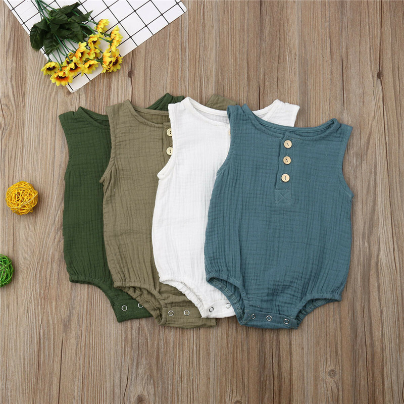 Baby Boys Romper Summer Infant Unisex Newborn Button Sleeveless Girls Solid One-pieces Jumpsuit Baby Cotton Linen Clothes Outfit